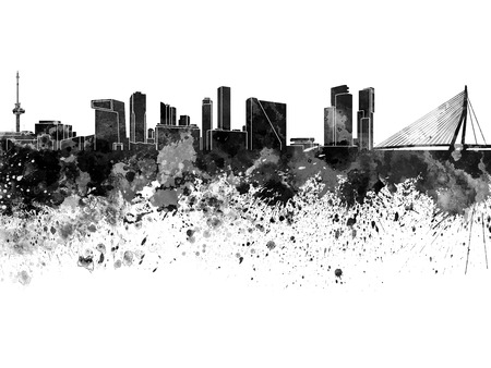 Rotterdam skyline in watercolor on white background Stock Photo