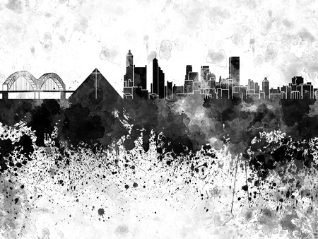 Memphis skyline in black watercolor Stock Photo