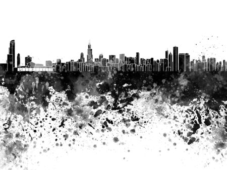 chicago skyline: Chicago skyline in black watercolor