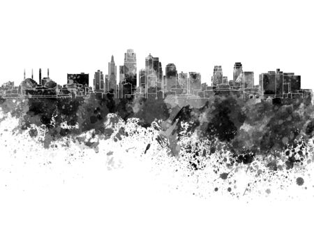 Kansas City skyline in black watercolor