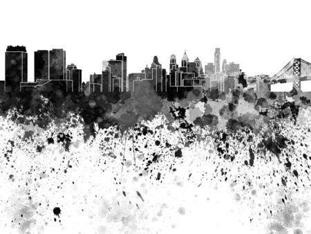 philadelphia: Philadelphia skyline in black watercolor
