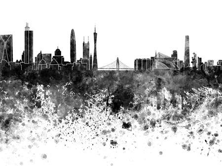 china watercolor paint: Guangzhou skyline in black watercolor