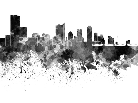 Austin skyline in black watercolor Stock Photo