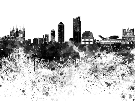 Lyon; Lyon skyline; France; Europe; watercolor; background; abstract; paint; splash; art; texture; grunge; illustration; splatter; creativity; architecture; cityscape; landmark; monuments; panoramic; black 免版税图像