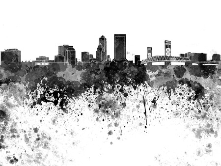 jacksonville: Jacksonville skyline in black watercolor