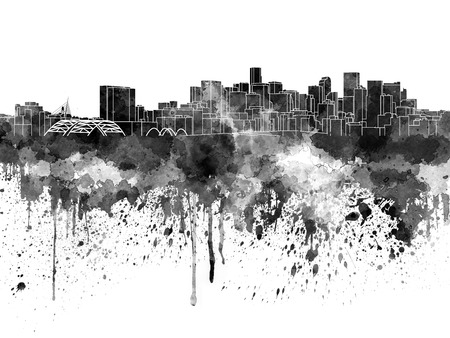 denver colorado: Denver skyline in black watercolor