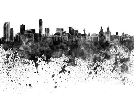 liverpool: Liverpool skyline in black watercolor Stock Photo