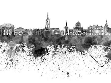 europa: Berna; horizonte de Berna; Suiza; abstracto; arquitectura; art; fondo; brillante; paisaje urbano; color; vistoso; creatividad; Europa; grunge; ilustración; punto de referencia; monumentos; panorámico; horizonte; chapoteo; salpicar; textura; acuarela, negro Foto de archivo