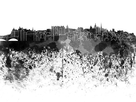 Edinburgh skyline in black watercolor