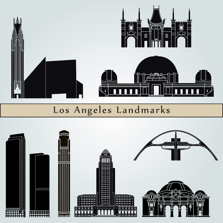 los: Los Angeles  landmarks and monuments isolated on blue background in editable vector file