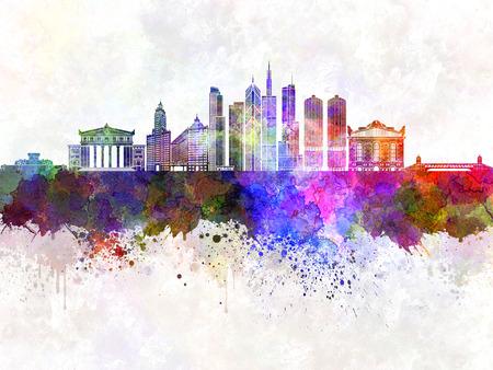 chicago skyline: Chicago skyline in watercolor background