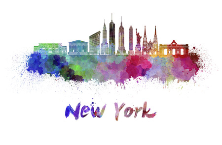 new york skyline: New York skyline in watercolor splatters with clipping path Stock Photo