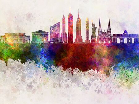 new york skyline: New York skyline in watercolor background