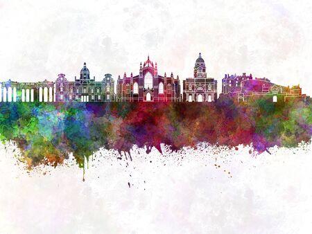 skyline di Edimburgo in background acquerello