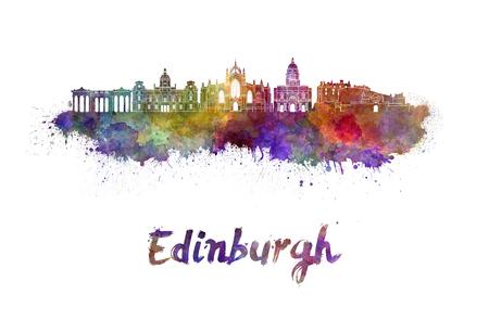 edinburgh: Edinburgh skyline in watercolor splatters with clipping path Stock Photo