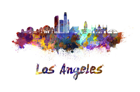 Los Angeles skyline in watercolor splatters with clipping path Standard-Bild