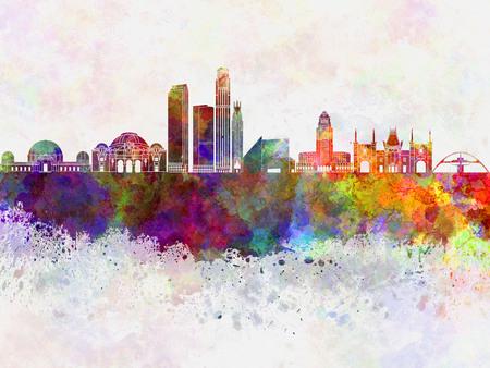 los angeles: Los Angeles skyline in watercolor background