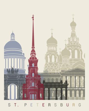 affiche skyline St Petersburg Vecteurs
