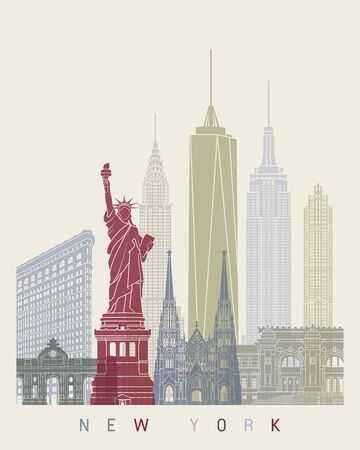 new york skyline: New York skyline poster Illustration