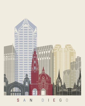 san diego: San Diego skyline poster Illustration