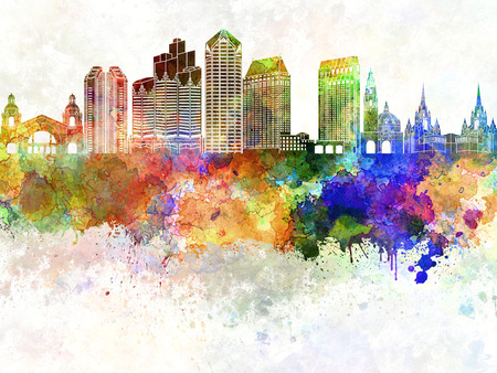 san diego: San Diego skyline in watercolor background