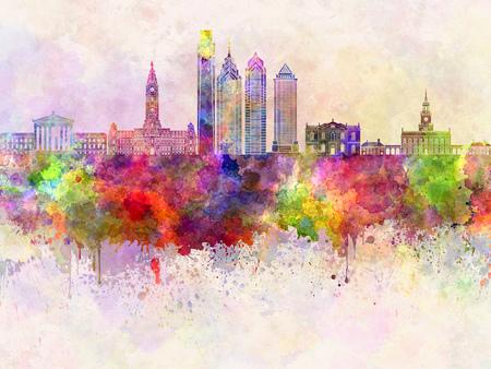 水彩画背景でフィラデルフィアのスカイライン 写真素材