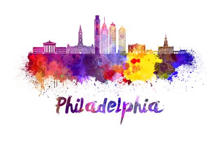 クリッピング パスと水彩の飛び散りでフィラデルフィアのスカイライン 写真素材