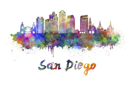san diego: San Diego skyline in watercolor splatters with clipping path Stock Photo