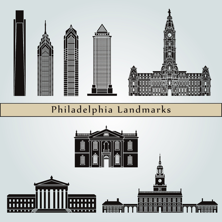 Philadelphia landmarks and monuments isolated on blue background in editable vector file