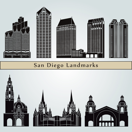 San Diego landmarks and monuments isolated on blue background in editable vector file Illustration