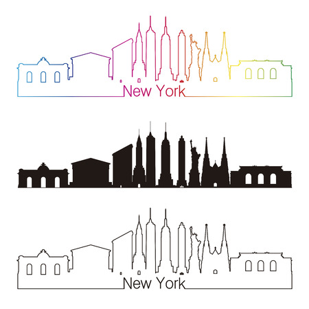 new york: New York skyline linear style with rainbow in editable vector file