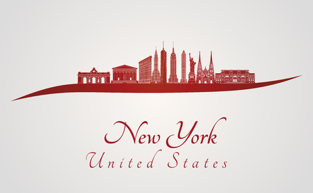 new york skyline: New York skyline in red and gray background in editable vector file Illustration
