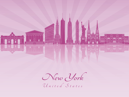 New York skyline in purple radiant orchid in editable vector file