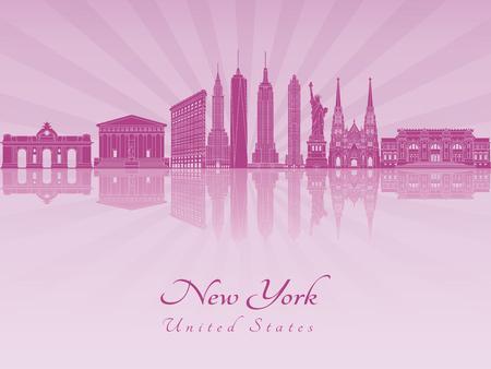new york skyline: New York skyline in purple radiant orchid in editable vector file