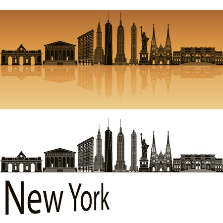 new york skyline: New York skyline in orange background in editable vector file Illustration