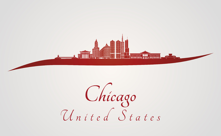 chicago skyline: Chicago skyline in red and gray background in editable vector file Illustration