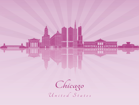 skyline city: Chicago skyline in purple radiant orchid in editable vector file Illustration