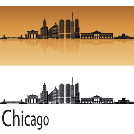chicago skyline: Chicago skyline in orange background in editable vector file