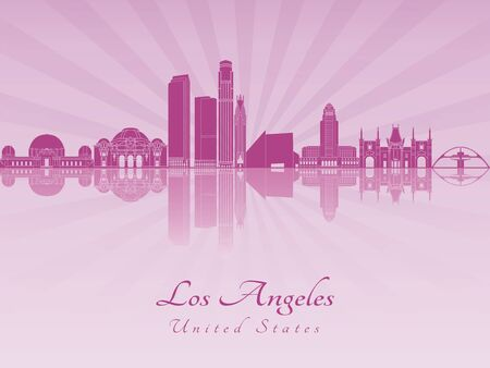 Los Angeles skyline in purple radiant orchid in editable vector file