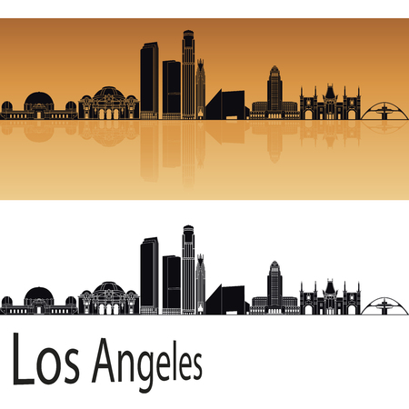 black outline: Los Angeles skyline in orange background in editable vector file