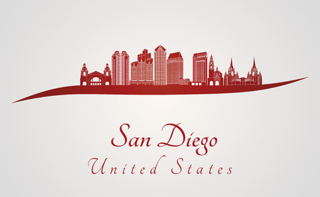 san diego: San Diego skyline in red and gray background in editable vector file Illustration