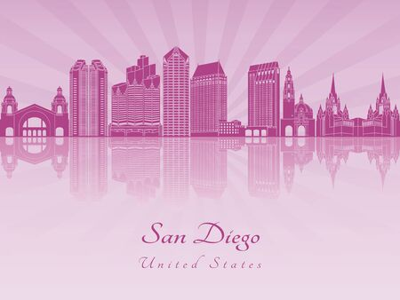 radiant: San Diego skyline in purple radiant orchid in editable vector file