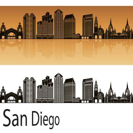 San Diego skyline in orange background in editable vector file