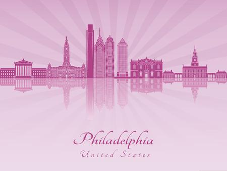 radiant: Philadelphia skyline in purple radiant orchid in editable vector file