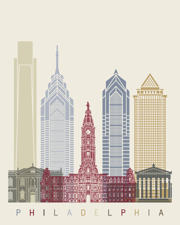 Philadelphia skyline poster in editable file