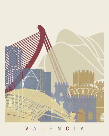 valencia: Valencia skyline poster in editable file Illustration