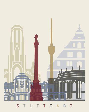 stuttgart: Stuttgart skyline poster in editable file
