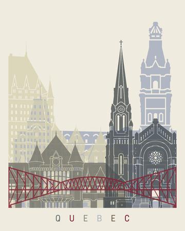 quebec: Quebec skyline poster in editable file