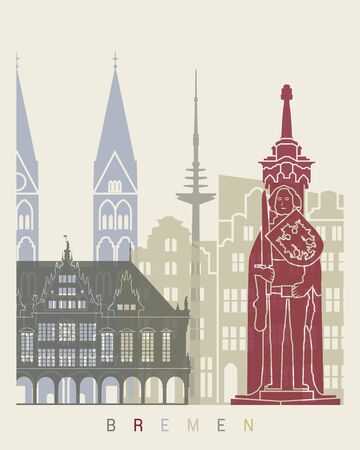 bremen: Bremen skyline poster in editable file