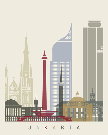 Jakarta skyline poster in editable file Illustration